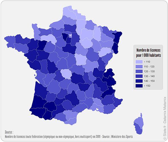 La carte de France des départements comptant le plus de licenciés