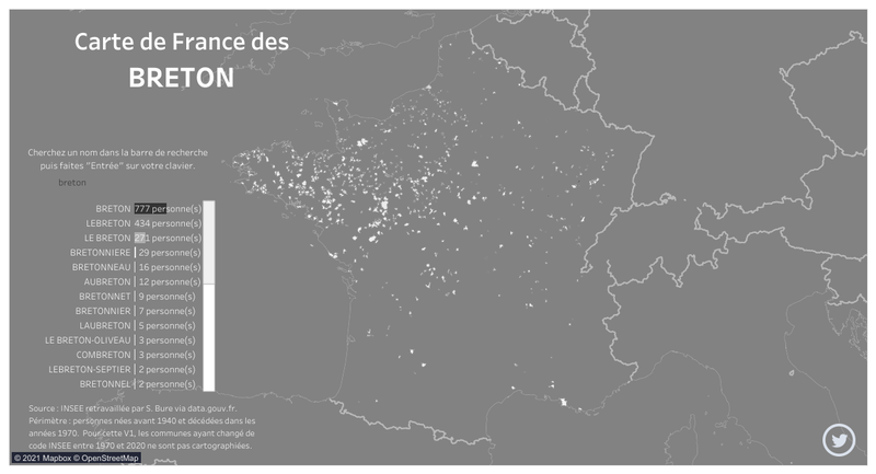 Carte patronymique de France