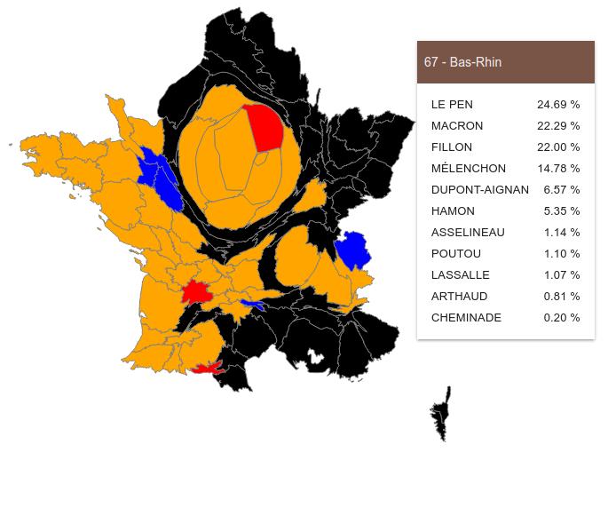 Cartogramme des résultats du premier tour