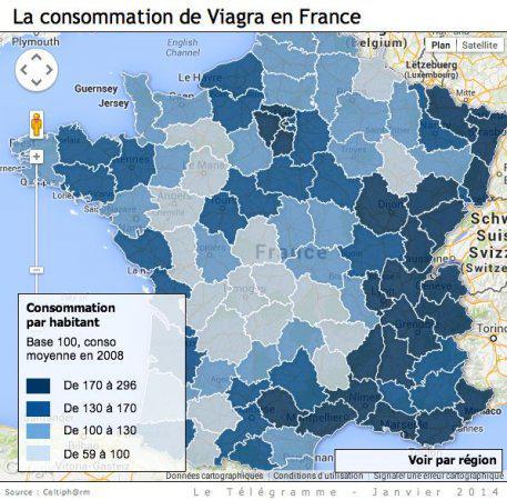 La carte de France du Viagra