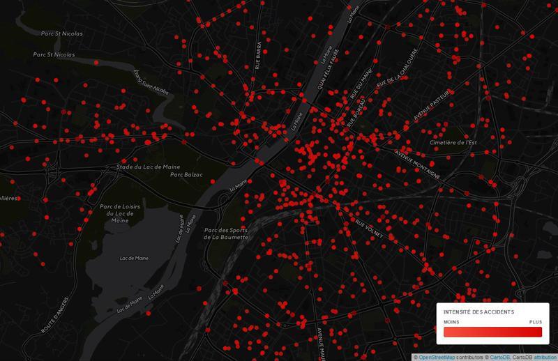 cartographie des accidents sur la ville d'Angers de 2006 à 2011