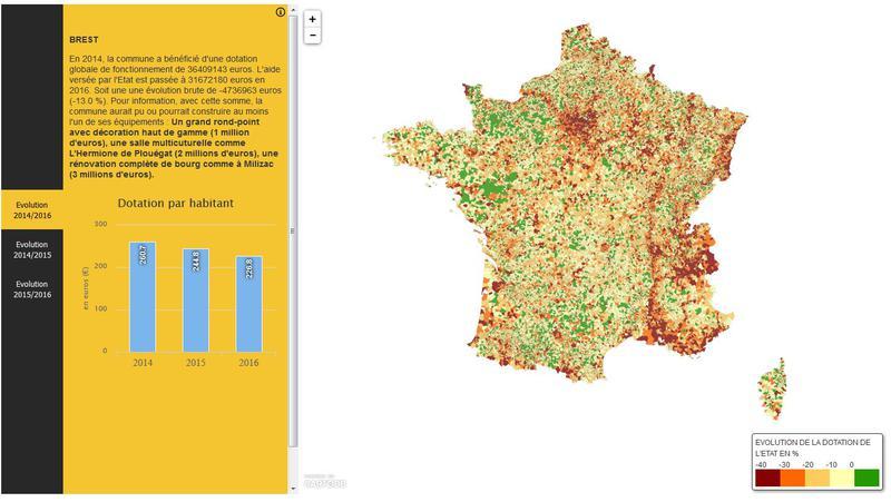 La carte de France des dotations