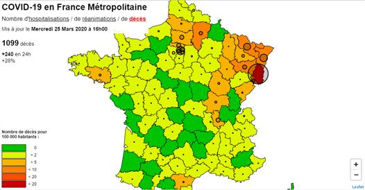 COVID-19 - Carte des cas en France Métropolitaine