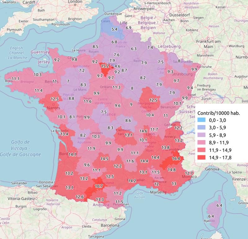 Contributions rapportées à la population par département sur granddebat.fr