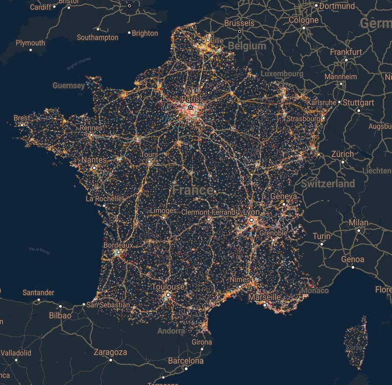 Carte interactive de couverture mobile et des antennes relais