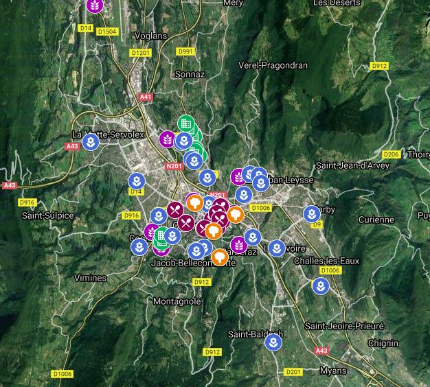 Carte des jardins en Savoie