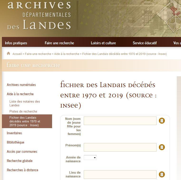 Fichier des Landais décédés entre 1970 et 2019