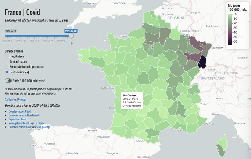 COVID19: choroplèthe animée avec données d'hospitalisation Santé Publique France