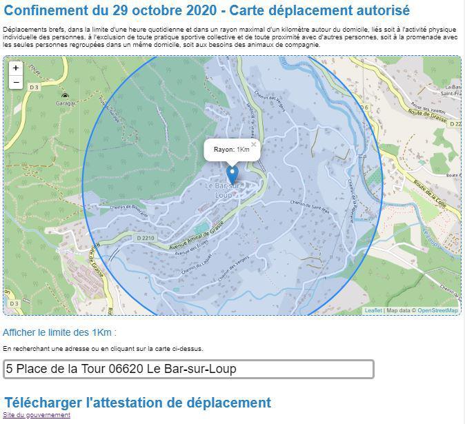 Covid 19 - Carte avec rayon de 1Km vol d'oiseau autour de votre adresse