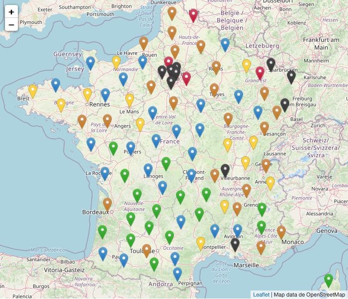Nouvelle carte des cas par départements