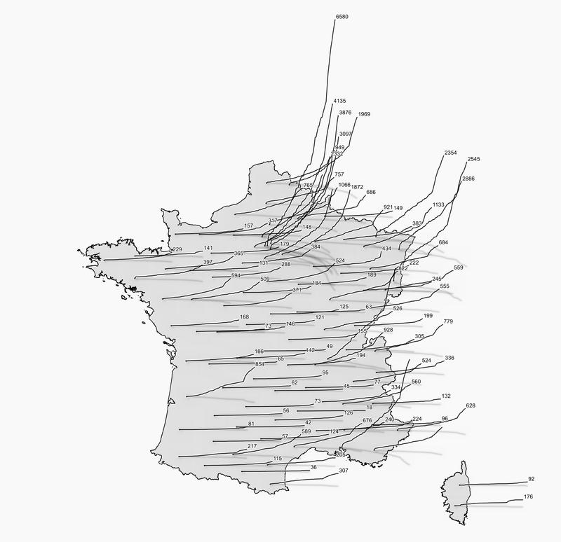 Carte de l'évolution du COVID en France