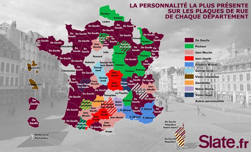 Quelle personnalité a le plus de rues à son nom dans votre département?