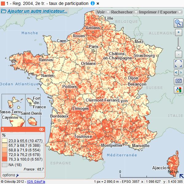 Cartographie nationale des résultats des élections régionales de 2004
