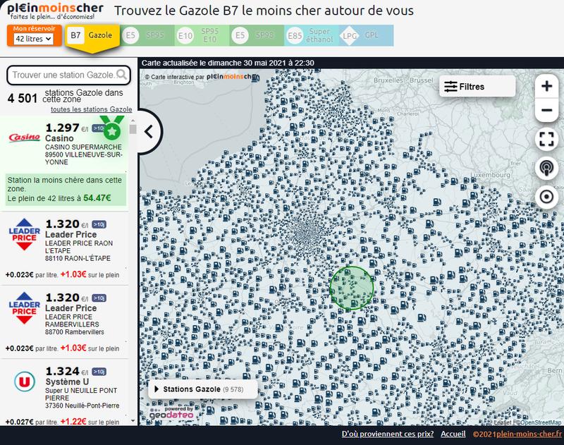 Carte interactive - prix des carburants en France