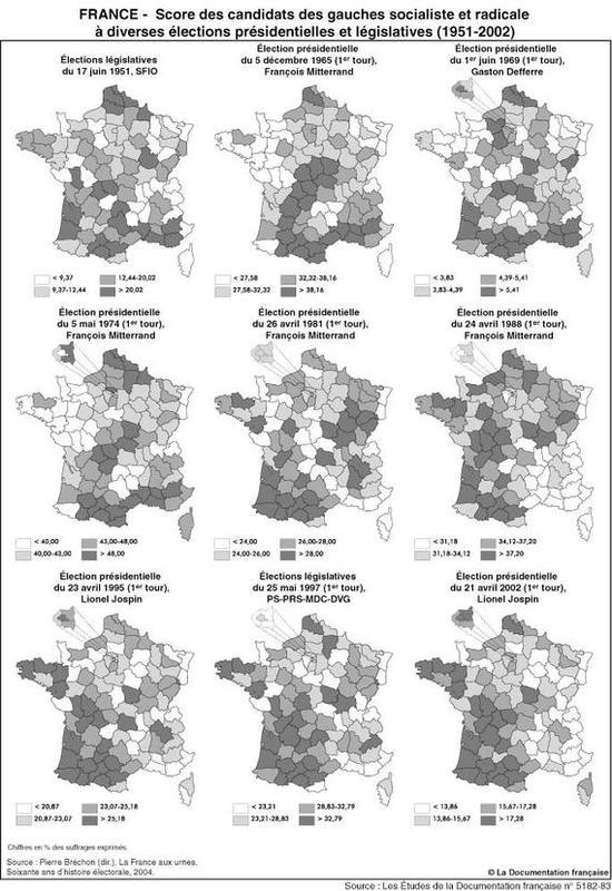 Élections présidentielles et législatives de 1951 à 2002 : résultats des gauches socialiste et radicale