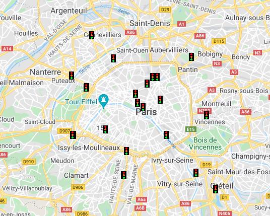 Carte des radars de feux rouges