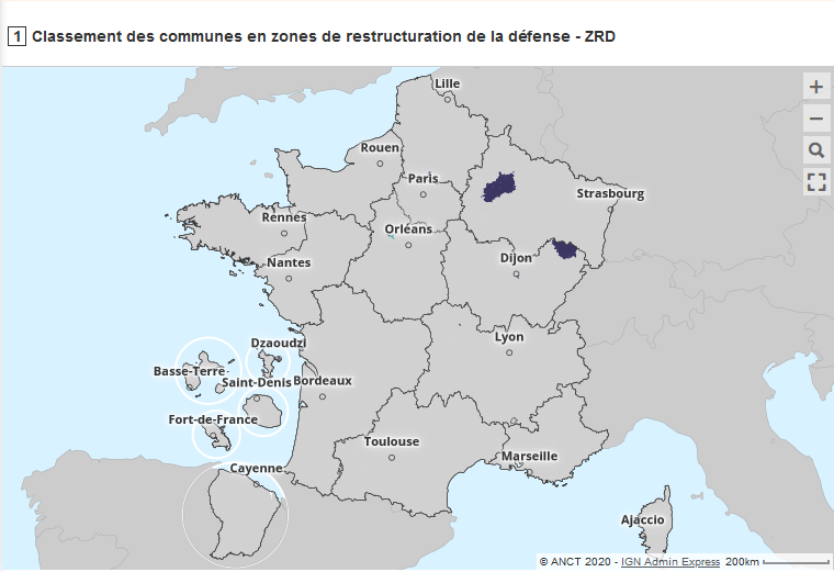 Carte interactive des zones de restructuration de la défense (ZRD)