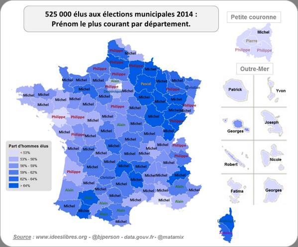 Municipales 2014 : prénom le plus courant par département