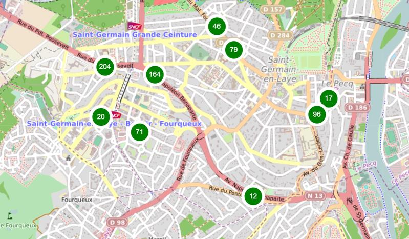 Datavisualisation cartographique des arbres urbains de Saint-Germain-en-Laye