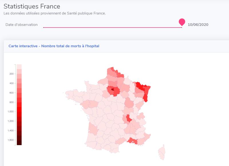 Cartographie interactive des décès liés au Covid19 en France depuis le 18/03/2020