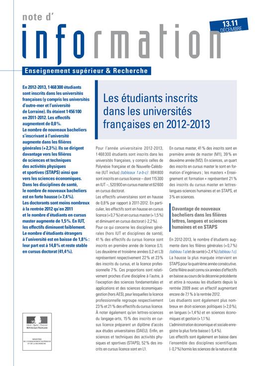 Note d'information 13.11 - Les étudiants inscrits dans les universités françaises en 2012-2013