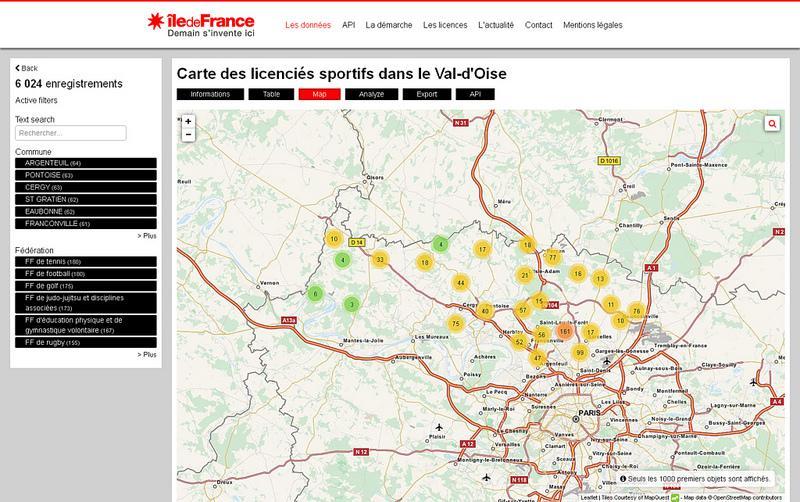 Carte des licenciés sportifs dans le Val-d'Oise