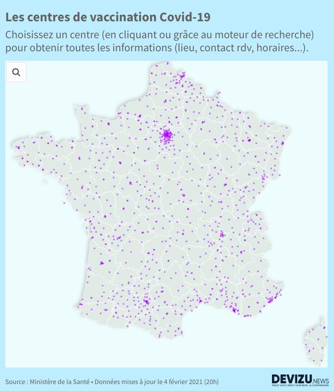 Carte interactive des centres de vaccination en France