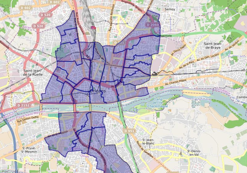 Visualisation de la carte scolaire d'Orléans