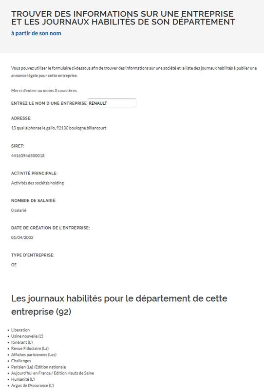 Informations sur les entreprises et les journaux d'annonces légales habilités de leurs départements