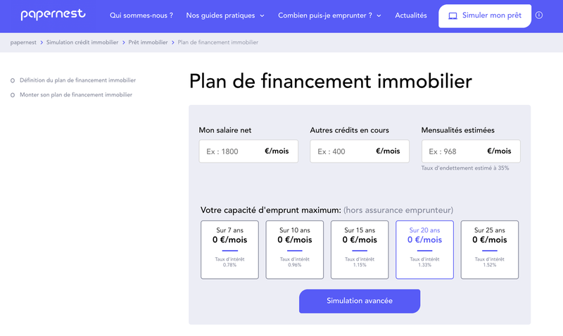 Simulation credit immobilier - papernest.com