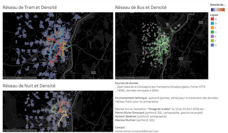 Cartographie de Strasbourg : Transports et densité de population