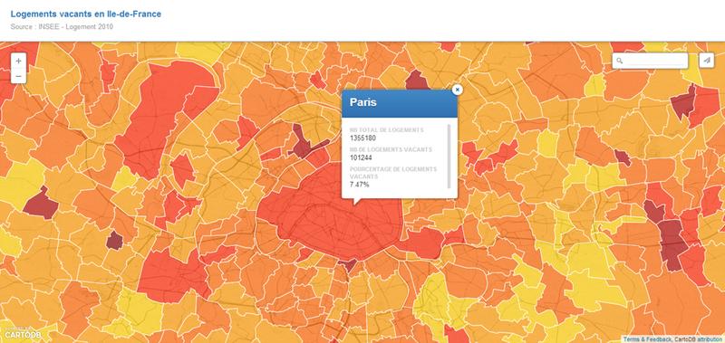 Carte des logements vacants en Ile de France