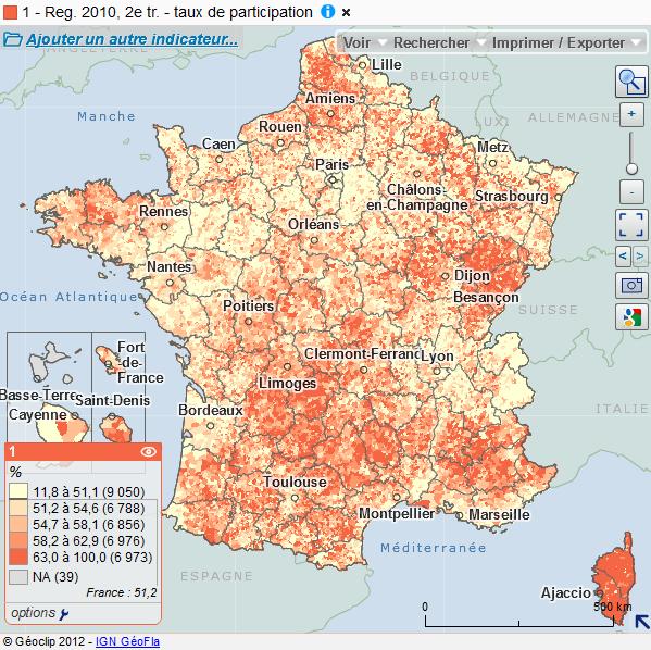 Cartographie nationale des résultats des élections régionales de 2010