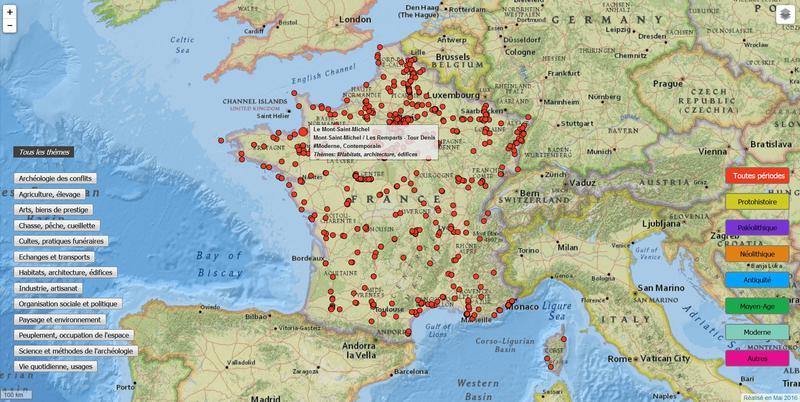 Localisation des sites de fouilles de l'INRAP