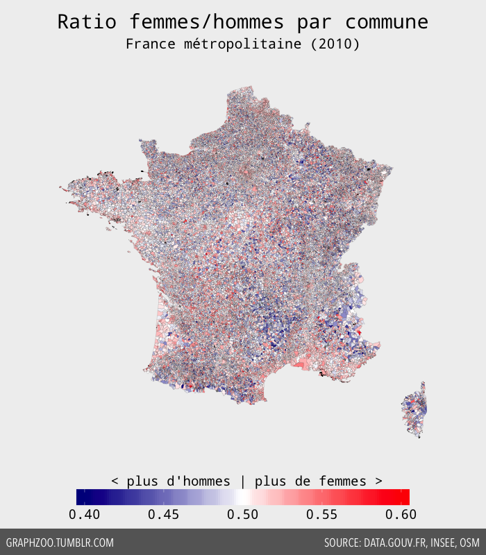 Sex-ratio par commune en France métropolitaine (2010)