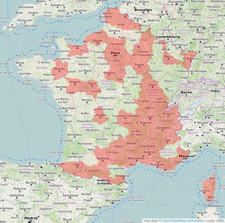 Carte des zones concernées par le couvre-feu sanitaire