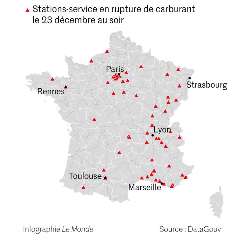Le Monde - Consultez notre carte des stations-service en rupture de stock