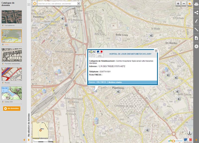 """Visualisation Géoportail des données """"établissements de santé"""" de la BD TOPO avec lien vers le fichier FINESS"""