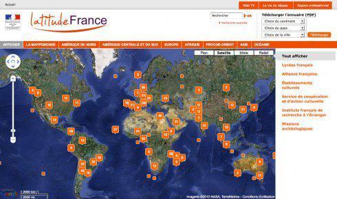 Carte mondiale du réseau culturel et de coopération français