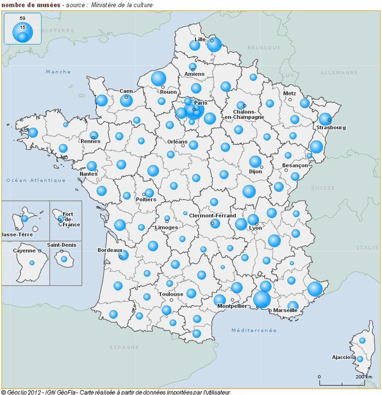 Cartographie du nombre de musées de France par département