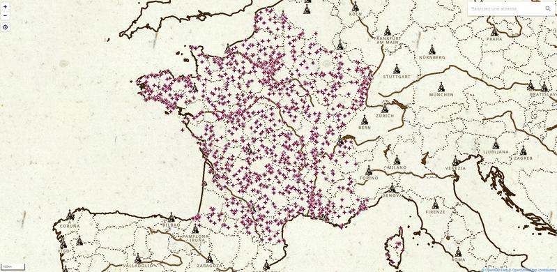 Carte des immeubles protégés au titre des Monuments Historiques