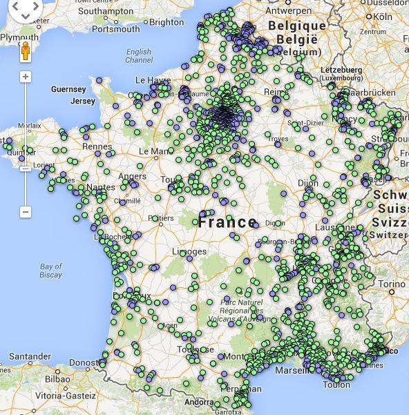 La carte de France des villes sous vidéosurveillance