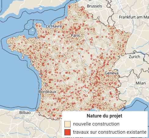 Carte des permis de construire et de déclarations préalables de logements en France - Sitadel