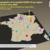 Visualisation dynamique de l'augmentation des cas COVID-19 du 4 au 25 mars par région (métropole uniquement)