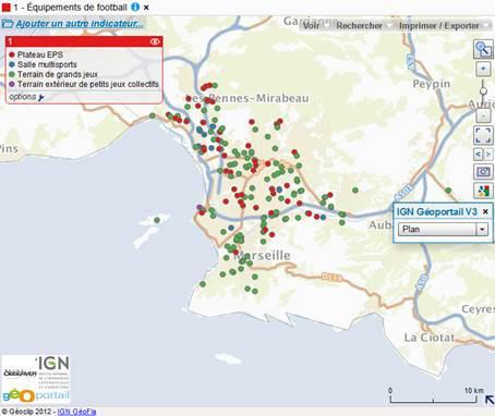 Carte des équipements de football à Marseille