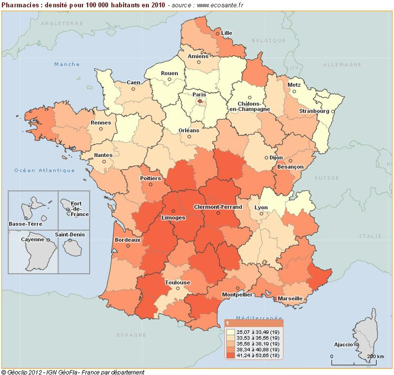 Pharmacies : densité pour 100 000 habitants