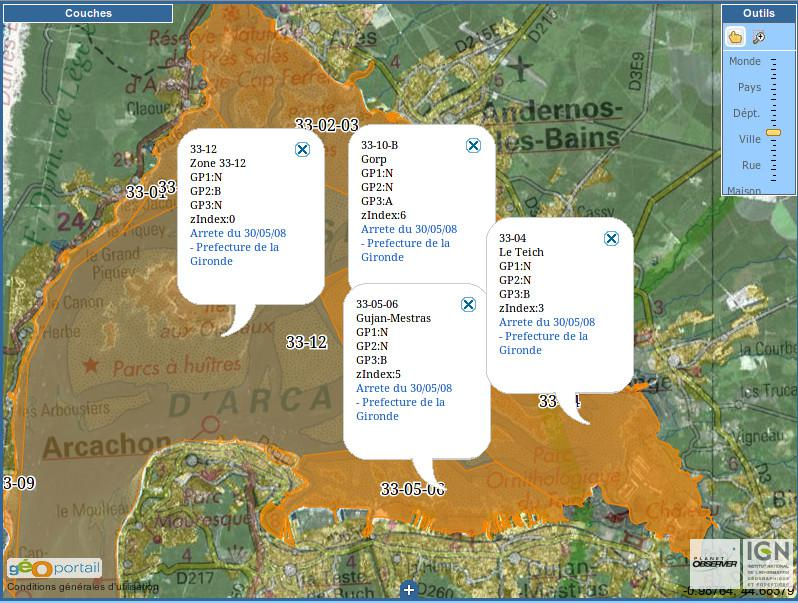Affichage des informations de classement sanitaire et arrêtés de classements des zones conchylicoles
