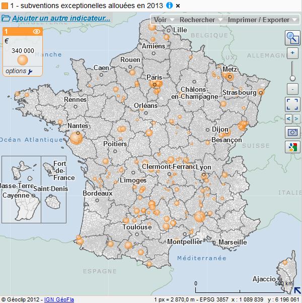 Cartographie des subventions execptionnelles accordées aux communes en 2013