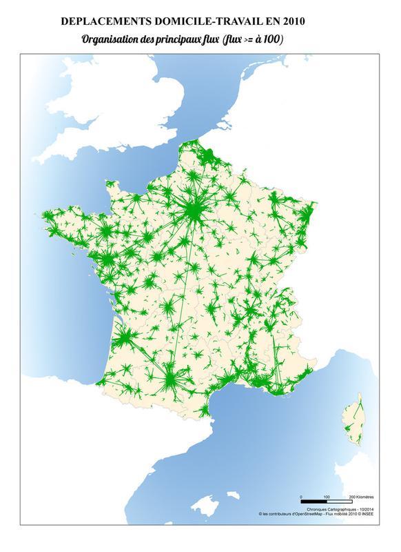 carte des déplacements domicile-travail