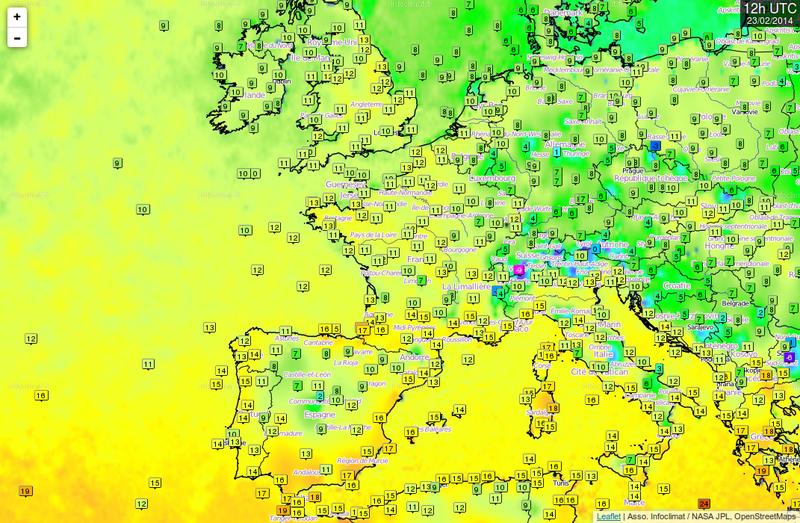 Cartes en temps réel des stations météorologiques mondiales